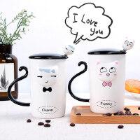 创意可爱一对情侣杯子办公室水杯带盖勺马克杯家用牛奶咖啡陶瓷杯