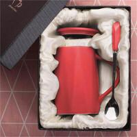创意女学生陶瓷马克杯韩版咖啡杯带盖勺家用水杯子大容量牛奶杯 -礼盒装