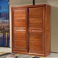 全实木衣柜金丝檀木中式两门推拉滑移门挂衣橱组装卧室原木大衣柜 两门推拉门衣柜 2门