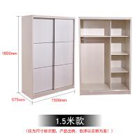 推拉滑移门衣柜简约现代小户型卧室实木质板式家具白色美女趟门柜 2门 组装