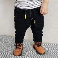 儿童加绒裤子冬装新款男童口袋笑脸贴布长裤1- 5岁宝宝加厚牛仔裤