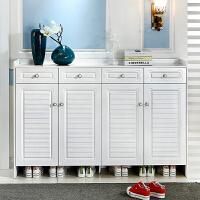 简约现代白色烤漆鞋柜欧式家用组装玄关实木门厅客厅多功能储物柜 组装