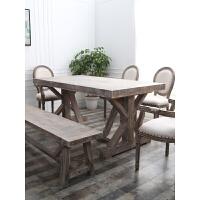 美式餐桌椅组合实木脚复古家具小户型现代家用简约餐厅长方形桌子 单桌:140*70*75cm 厚5cm