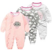 蓓莱乐女婴儿连体衣服冬季0岁个月宝宝潮款冬装新生儿可爱童睡衣