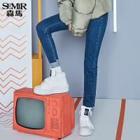 森马牛仔裤女2017冬季新款修身加厚打底长裤紧身学生潮弹力裤子
