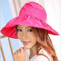 可折叠太阳帽遮阳帽防晒帽子防紫外线帽大檐帽海边沙滩太阳帽空顶帽 玫红色太阳帽