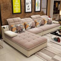 布艺沙发组合可拆洗现代简约布沙发客厅整装大小户型转角贵妃家具 乳胶版 四件套(送茶几电视柜)