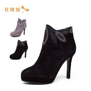 【专柜正品】红蜻蜓新款真皮女靴尖头短靴皮靴单靴细跟高跟