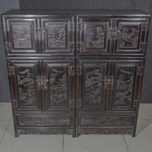 S1172清《檀木顶箱柜一对》(此对柜样式古朴,包浆丰润,保存完整,纯手工雕刻,雕工细致精美,团吉祥美好,收藏使用两相宜。)