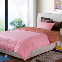 华润双猫 单人床品组合五件套 被子/被芯/枕芯(纯棉舒适被子芯+枕芯+床单被子罩枕套三件套) 咖啡+粉色双拼