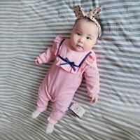 婴儿连体衣服宝宝新生儿季0岁5月休闲睡衣春外出服