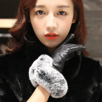 真皮手套女 冬 加厚 大獭兔毛羊皮手套 女士手套真皮手套女式触屏