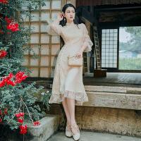 旗袍 女士立领花朵蕾丝改良版长袖旗袍2020秋季新款韩版时尚女式修身连衣裙女装A字裙