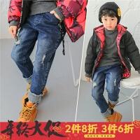 男童加绒裤子儿童牛仔长裤2017冬季新款加绒加厚保暖冬装破洞蓝色