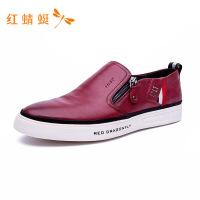 红蜻蜓冬季新品男鞋舒适休闲套脚鞋真皮低帮单鞋