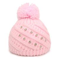 户外运动毛线帽子女童保暖套头帽儿童螺纹球球帽