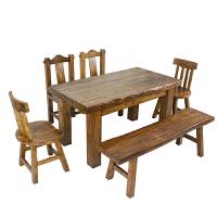 山东人老榆木新中式餐厅家具老榆木餐桌椅组合长方形大料8cm饭桌
