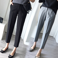 黑色西装裤女韩版直筒女裤九分裤休闲裤哈伦裤小脚烟管裤工装西裤