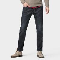 骆驼男装 2019冬季新款潮流加绒牛仔裤男士韩版合体直筒休闲长裤