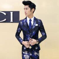 春季男式韩版潮流英伦满花西服套装 结婚婚礼男士西装三件套