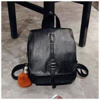 双肩包女韩版2018新款潮少女士百搭软皮时尚妈咪包书包休闲背包包 黑色