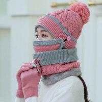 帽子女冬天围脖骑车防风口罩帽手套毛线帽秋季韩版可爱百搭针织帽新品