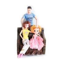 男芭比娃娃一家三口情侣的玩具婚纱儿童王子男生版男孩公主男朋友 母女款1 2个娃娃 只含娃娃,不含拍摄道具