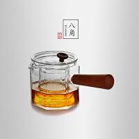 当当优品 八角锤目纹煮茶器 光阴系列 实木把手 高硼硅玻璃带滤网茶壶 550ml