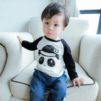 12岁婴儿衣服男女宝宝纯棉可爱卡通熊猫长袖拼接上衣圆领秋季t恤