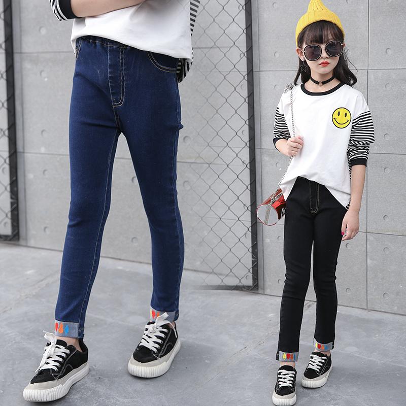 女童牛仔裤春秋10岁修身长裤女孩弹力裤12中大儿童装小脚裤子