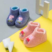 儿童保暖防滑包跟外穿加厚男女孩卡通棉鞋小猪佩奇可爱棉拖鞋