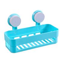 浴室方形强力双吸盘置物架 浴室卫生间收纳架 蓝色