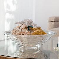 奇居良品 现代简约透明玻璃家居装饰摆件 埃米圆形玻璃水果盘