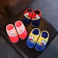 儿童拖鞋卡通男童室内保暖棉拖鞋女童宝宝防滑包头毛毛虫拖鞋