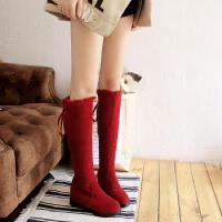 秋冬季大童棉鞋平底棉靴少女雪地靴子小学生初中高中学生高筒长靴