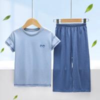 儿童家居服男女童短袖七分裤套装薄中大童空调服宝宝睡衣夏季