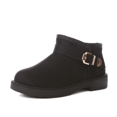 短靴女马丁跟雪地靴加绒保暖靴子 女冬棉鞋搭扣女靴潮 品质保证 售后无忧 支持货到付款