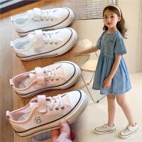 女童帆布鞋夏季男童平底网面小白鞋透气儿童鞋