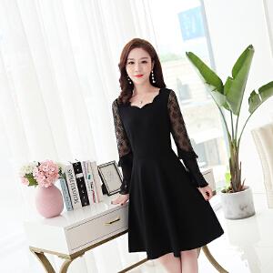 秋装女2018新款旗袍裙 日常改良修身显瘦蕾丝拼接长袖气质连衣裙