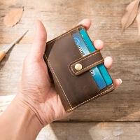 复古男士皮卡包短款多卡位皮卡片包大容量双层名片夹女 浅棕色 皮
