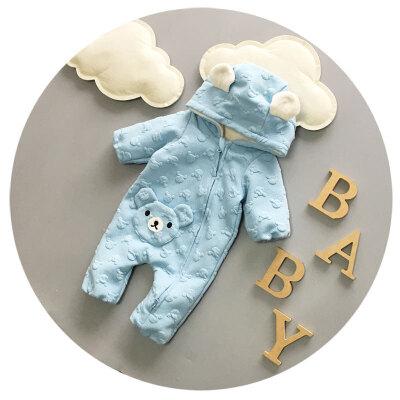 婴儿连体衣秋冬加绒加厚男宝宝爬爬服3-6-9个月新生儿衣服哈衣潮 发货周期:一般在付款后2-90天左右发货,具体发货时间请以与客服协商的时间为准