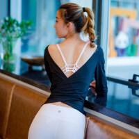 瑜伽服上衣性感仙姬露背修身舞蹈弹力运动可调整长袖健身罩衫女子