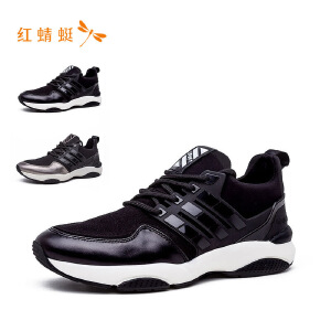红蜻蜓系带圆头舒适休闲时尚低跟男单鞋