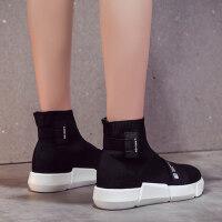 韩版ulzzang学生百搭潮针织高帮运动鞋加绒袜子鞋女