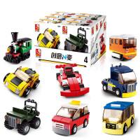 【当当自营】小鲁班创意N变系列儿童益智拼装积木玩具 汽车组交通工具8款装M38-B0598