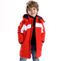 【3件6折到手价:298.8】小猪班纳童装男童长款羽绒服冬装儿童加厚保暖外套中大童连帽风衣