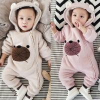 婴儿连体衣服冬季宝宝加绒哈衣拉链连帽外出服新生儿满月冬装01岁