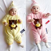婴儿连体衣加厚加绒秋冬男女宝宝保暖哈衣爬服外出新生儿衣服冬季