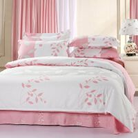 OLYI 纯棉床上用品四件套 全棉斜纹活性印花床单式家纺四件套 叶语浪漫床品四件套 床上四件套