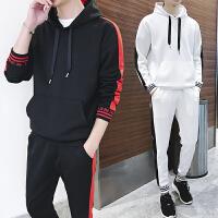 春季男士卫衣外套休闲运动套装韩版时尚拼色套帽衫学生班服2018